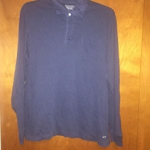Men vineyard vines blue long sleeve polo shirt L